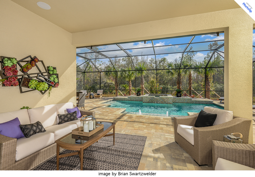 professionally edited real estate image of a pool in florida